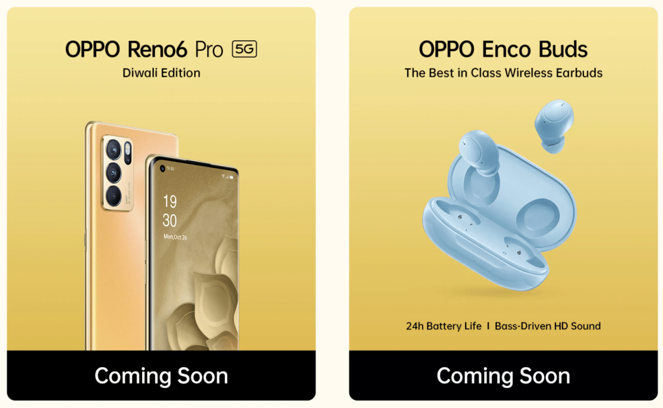 OPPO Reno 6 Pro 5G Diwali Edition OPPO Enco Buds Blue Color India Launch Teaser